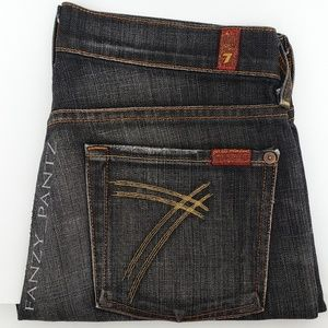 7FAM Dojo jeans 27 x 34 wide leg flare Black